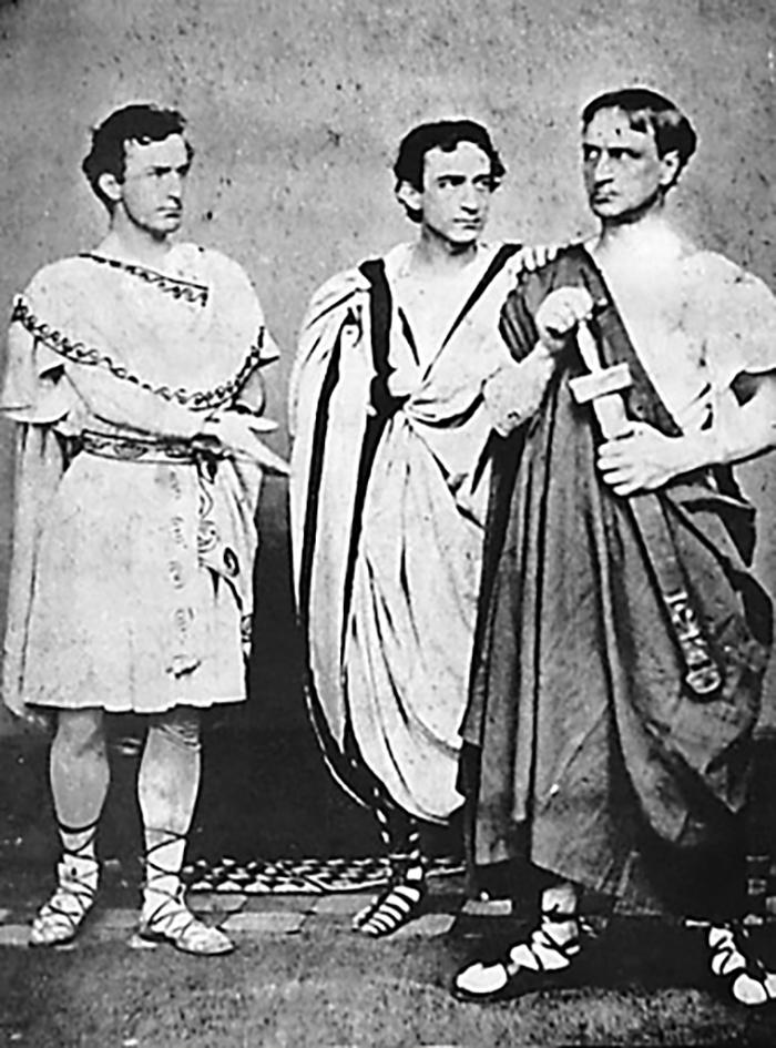 """John Wilkes, Edwin, and Junius Booth Jr. in """"Julius Caesar"""