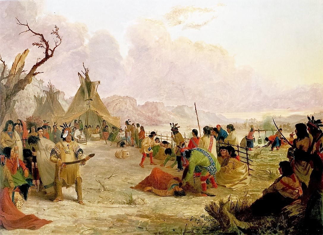 Painting of the Wakan Wacipi, a holy dance of the Dakota peoples, taking place in a village.